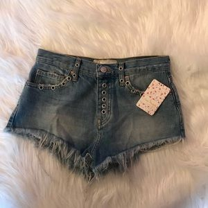 Free People Barcelona Nights Distressed Jean Short